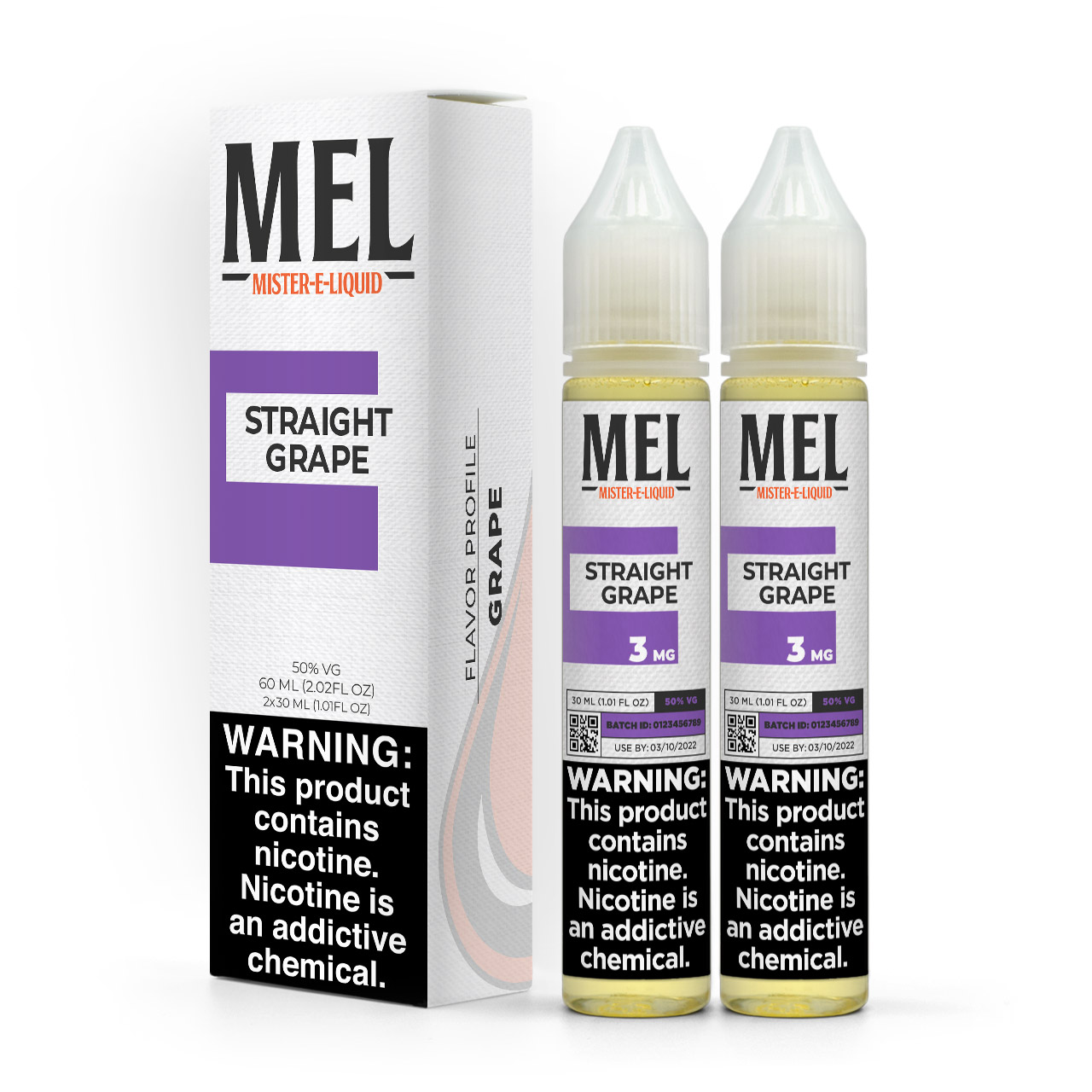 MEL Straight Grape vape juice, in 60 ml bundle